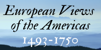 European Views of the Americas, 1493-1750. An icon with an archaic typeface overlaid on a background of a foggy mountanious region.
